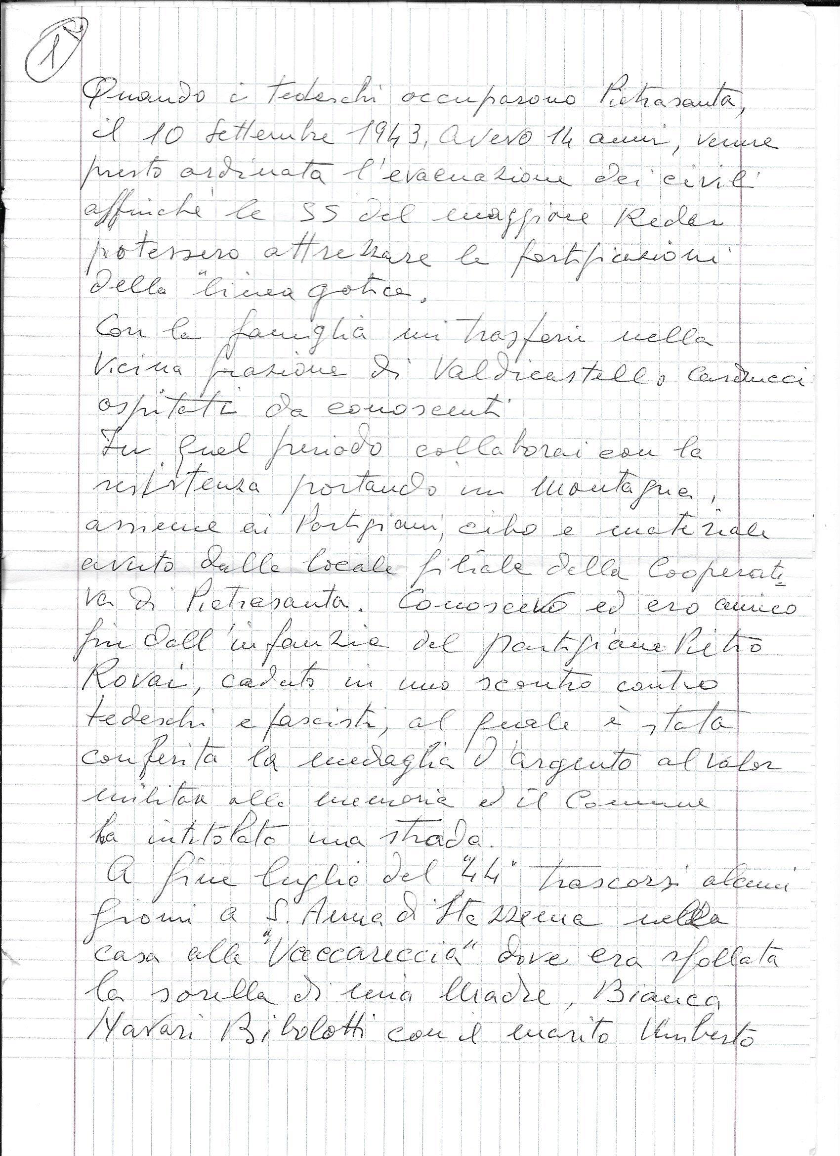 testimonianza di Ivo Maggi (manoscritto pagina 1)