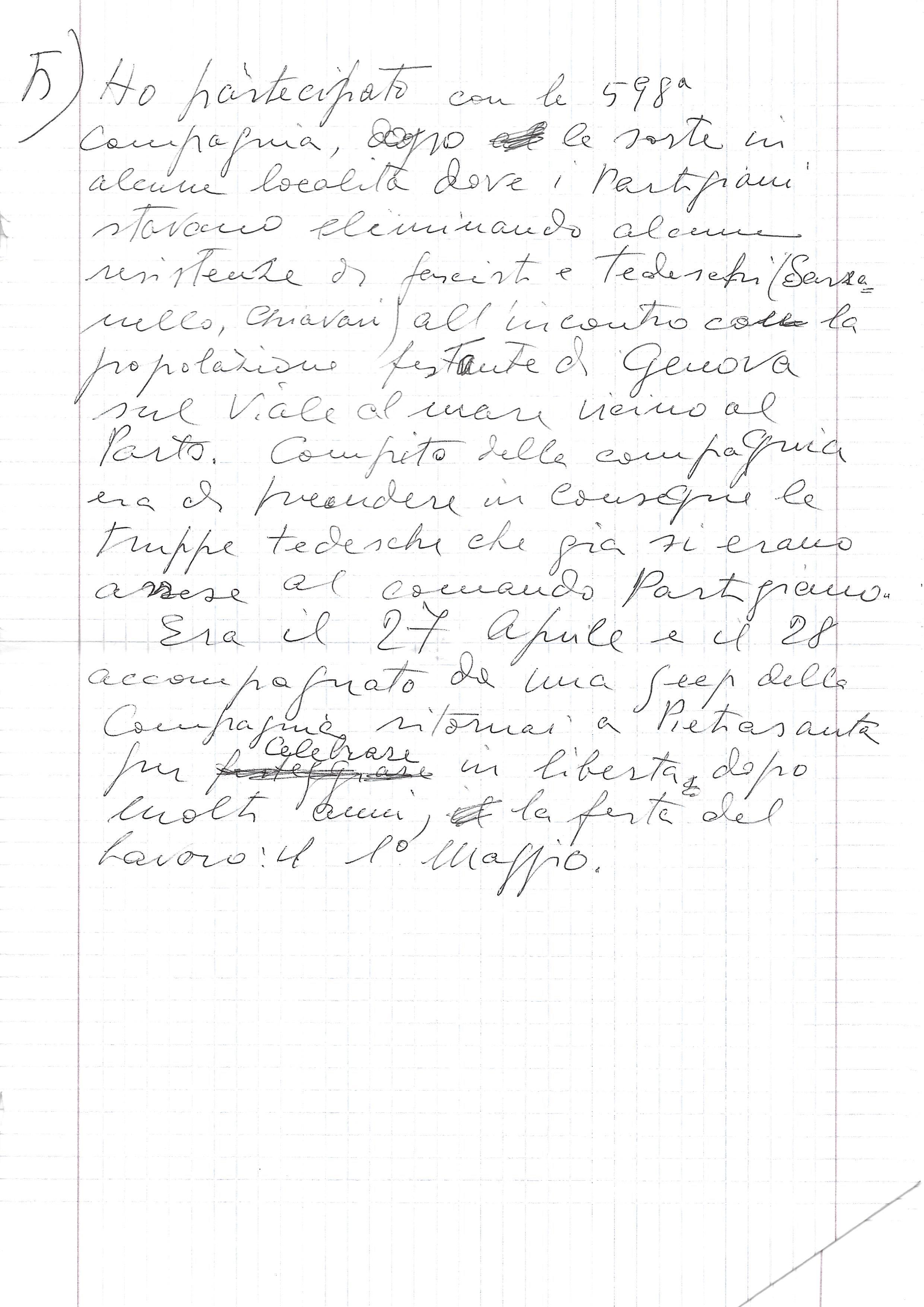 testimonianza di Ivo Maggi (manoscritto pagina 5)